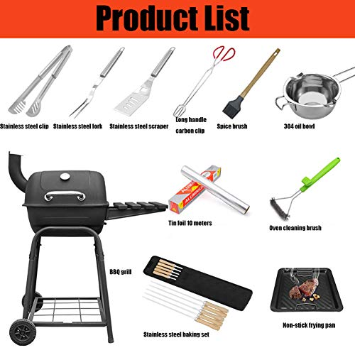 YAXuan BBQ Tools Set Barbecue Grill, BBQ Grill Portable Charcoal Barbecue Outdoor Smoker BBQ for Picnic Garden Terrace…