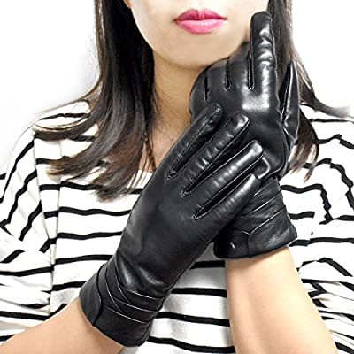 Yidainline Women's Winter Leather Gloves, Genuine Nappa Leather Touchscreen Texting Gloves, Cashmere Lining Warm Driving Gloves