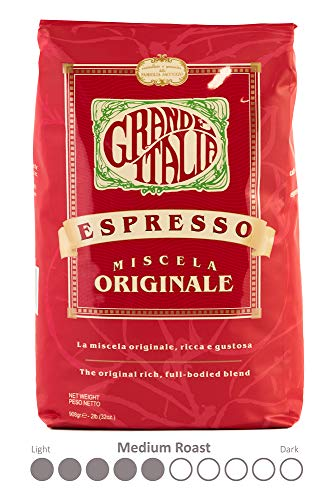 Grande Italia Whole Bean Espresso, Miscela Originale, Small Batch Artisan Roasted 2lb