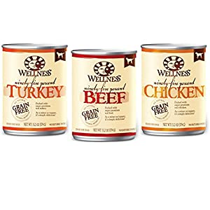 Wellness 95% Natural Wet Grain Free Canned Dog Food Variety Pack - 3 Flavors - Chicken, Turkey, and Beef - 13.2 Oz. Cans (Pack of 12)