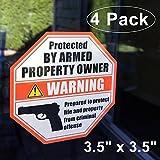 """Front Self Adhesive Vinyl Outdoor/Indoor (4 Pack) 3.5"""" X 3.5"""" PROTECTED BY ARMED PROPERTY OWNER Home Business Window Door Gun Handgun Warning Alert Sticker Decals"""