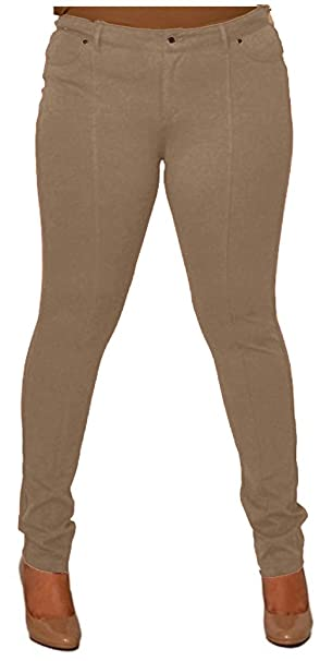afdd349be2f CurvyLuv Womens Junior Plus Size Colored Stretch Pants Skinny Pants  Princess Seamed (1X