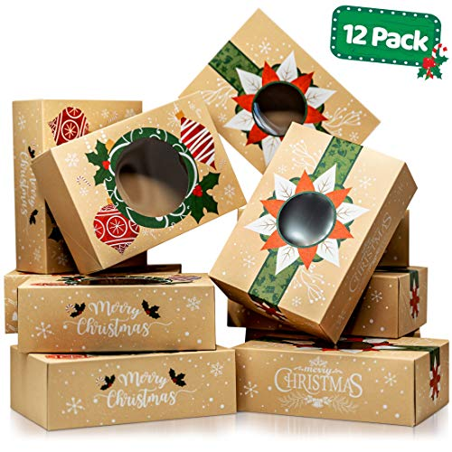 Christmas Cookie Boxes with Window - Bulk 12 Pack Kraft - Large Holiday Christmas Food, Bakery Treat Boxes, Candy and Cookie Boxes for Gift Giving - Kraft Packaging Containers & Tins with Lids