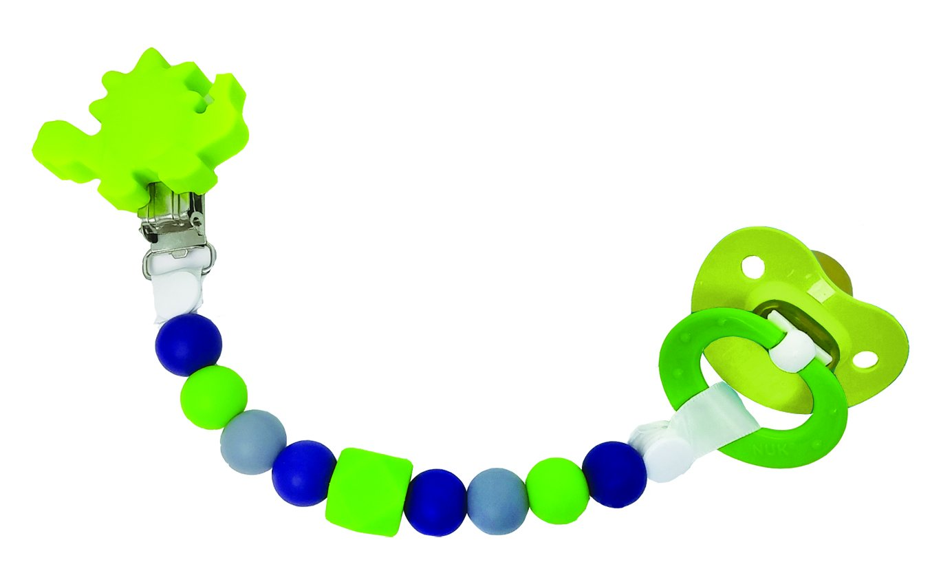 Petite Creations CP086 Silicone Pacifier Holder - Green Dinosaur