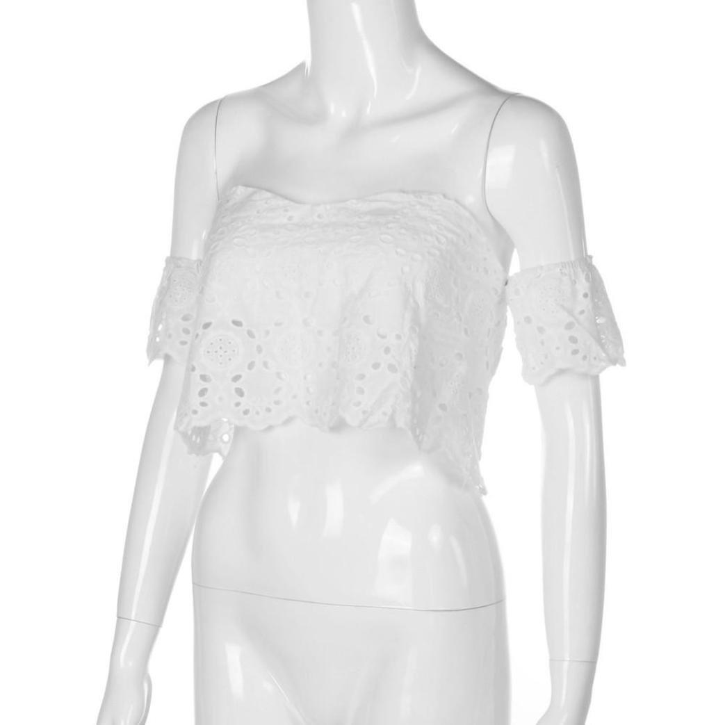 2018/Mujer Camiseta Manga Corta ronamick Mujeres Mode Verano Punta Crop Tops Hombro Libre Blusa Camisetas/ /Camiseta