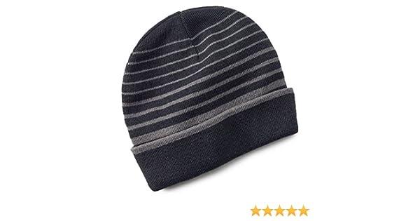 b5d5fcb216b Tek Gear Warmtek Striped Reversible Knit Beanie Hat Men One Size Black Grey  at Amazon Men s Clothing store