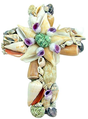 Real Colorful Seashell Wall Cross 8 Inch Christian Nautical Beach Church Home Decoration