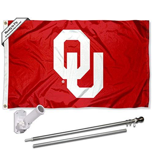 Oklahoma Sooners OU Logo Flag with Pole and Bracket Kit (Ou Logo)