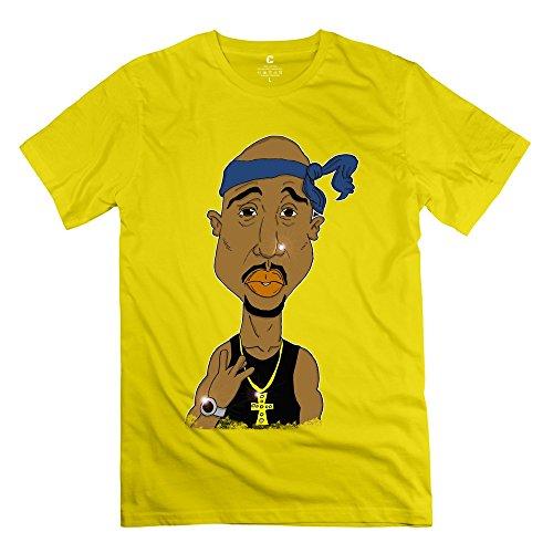 Popular 2pac Tupac Necklace Cross Watch Men's T-shirt Yellow Size S