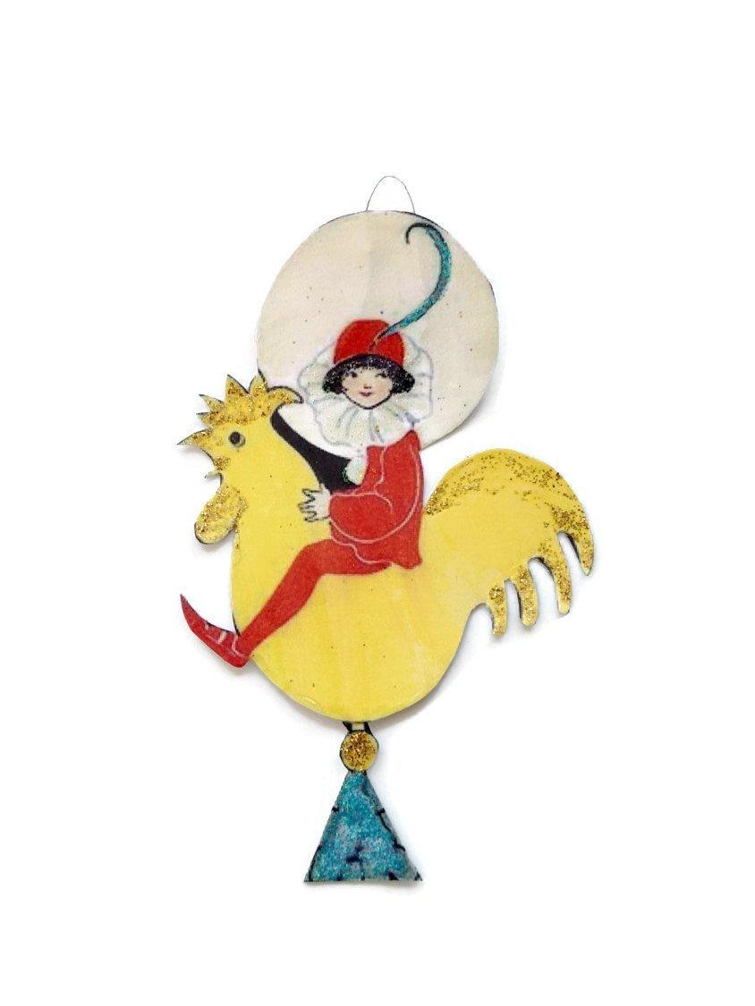Etroit pintade ressort couronne 20 cm Vintage Shabby Couronne ressort Osterdeko Pâques