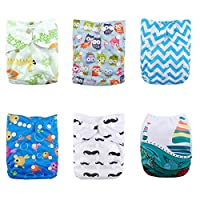 ALVABABY 6pcs Pack Pocket Adjustable Reusable Cloth Diaper with 2 Inserts Eac...