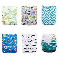 Alva Baby 6pcs Pack Pocket Adjustable Reusable Cloth Diaper with 2 Inserts Ea...