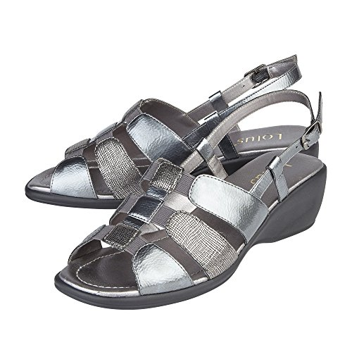 Sandals Pewter Wedge Lotus Womens Mississippi Heeled qRwFIX