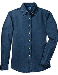 Port & Company Women's Long Sleeve Value Denim Shirt XXL Ink Blue