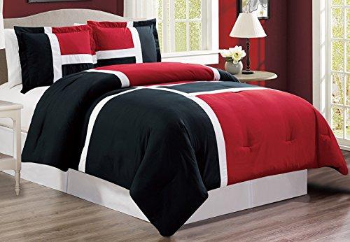 3 piece BURGUNDY RED / BLACK / WHITE Goose Down Alternative Color Panel Oversize Comforter Set, CAL KING size Microfiber bedding, Includes 1 Oversize Comforter and 2 Shams