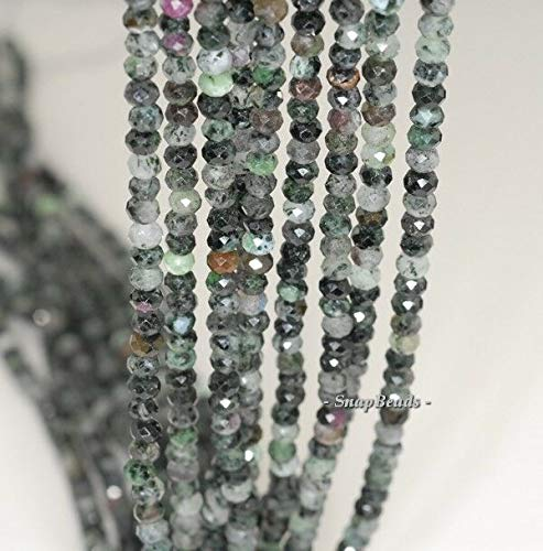 4X3MM Black Green Ruby Zoisite Gemstone B Faceted RONDELLE Loose Beads 7.5