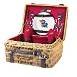 NCAA Kansas Jayhawks Champion Picnic Basket with Deluxe Service for Two, Red