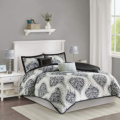 5 Piece Duvet Cover Bedding - Intelligent Design Senna Teen Girls Duvet Cover Set King/Cal King Size - Black, Damask - 5 Piece Duvet Covers Bedding Sets - Ultra Soft Microfiber Girls Bedding Bed Sets