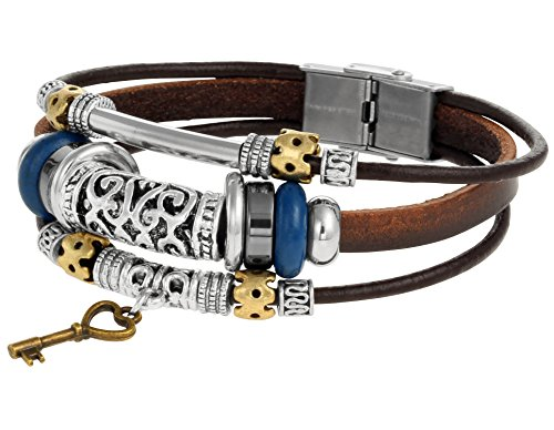 brown-leather-rope-wrist-bracelet-with-metal-alloy-key-charm-and-beads-sturdy-clasp-enclosure-by-reg