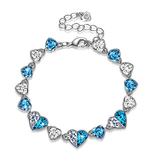 - QIANSE Bracelets for Women Love in Iceland Ice Blue Heart Tennis Bracelet Swarovski Crystals Jewelry for Women Anniversary Birthday Gifts for Women Wife Sister Girlfriend Graduation Gift for Daughter
