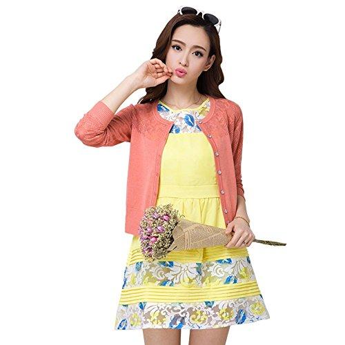 (ワンース) Wansi レディース カーディガン ニット 軽量 蒸れない ニットウェア 上着 薄い 夏服 ショート丈 クルーネック エアコン対策 透かし彫り 柔らか 快適 淑女 綺麗 ゆったり アウトドア ピンク M