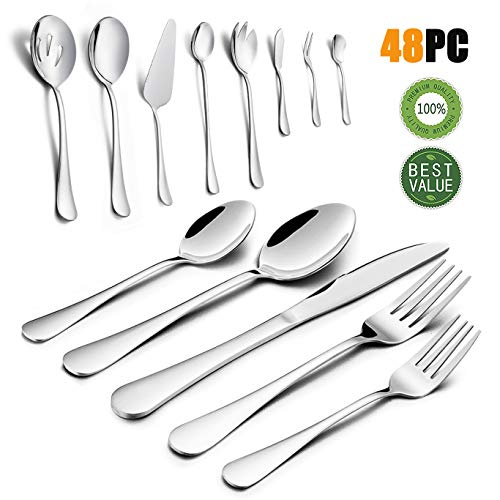 Silverware Set, HaWare 48-Piece Stainless Steel Flatware Cutlery Set, 40-Piece Dinner Knives/Spoons/Forks, Additional 8-Piece Serving Set, Service for 8, Mirror Polished, Dishwasher Safe