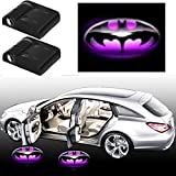3D Purple Battman HD Auto Sport Car Door Lamp, No Drilling Wireless Magnetic Car Door Step LED Welcome Logo Shadow Ghost Light Laser Projector Lamp- 2 Pcs