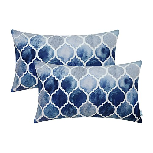 CaliTime Pack of 2 Cozy Bolster Pillow Cases Covers for Couch Bed Sofa Farmhouse Manual Hand Painted Colorful Geometric Trellis Chain Print 12 X 20 Inches Main Grey Navy Blue