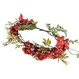 Love Sweety Bridal Adjustable Flower Garland Crown Hair Wreath Boho Headband (Red)