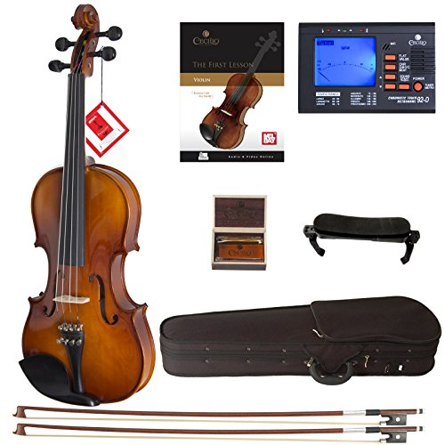 Cecilio CVN-300 Solidwood Ebony Fitted Violin with D'Addario Prelude Strings, Size 4/4 (Full Size)