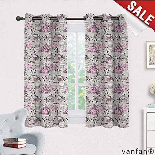 - LQQBSTORAGE Tea Party,Country Curtains Valance,Ornate Teacup and Pot with Romantic Roses Birds Valentines Day Themed Image,Curtains Girls Bedroom,Pale Pink Dust