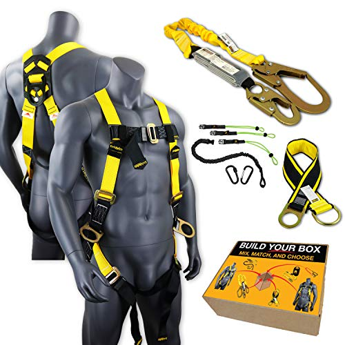 KwikSafety (Charlotte, NC) BOA KIT | 3D Full Body Safety Harness, 6' Lanyard, Tool Lanyard, 3' Cross Arm Strap Anchor ANSI OSHA PPE Fall Protection Arrest Restraint Construction Roofing Bucket