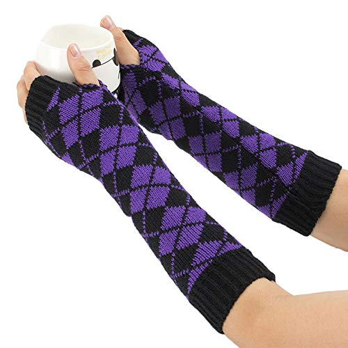 Aland Winter Women Rhombic Print Fingerless Long Gloves Arm Warmer Knitted Mittens Purple by Aland (Image #2)