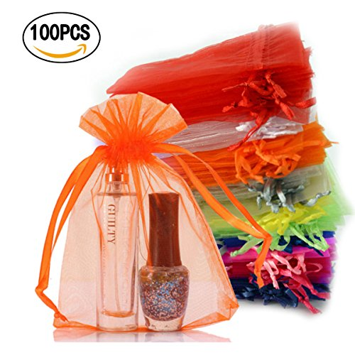 10 Sheer Organza Drawstring Pouches (Chasgo 100 Pcs Drawstring Organza Gift Bags 4 x 6 Pouch Wedding Party Favor Gift Candy Jewelry Wrapping Bags)
