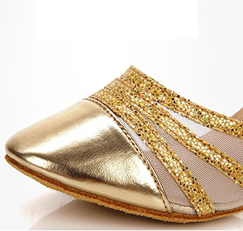 WYMNAME Dorado Modernos Amistad Zapatos Baile Zapatos Sandalia De Latino Mujeres De Mediados Cuadrado Baile Baile Tacones Zapatos De rqr4w1
