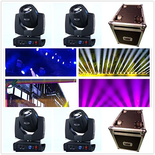 (Roccer 4Pcs/lot With Flight Case DMX 16/20 Channels 7R Sharpy Beam 230W Moving Head Light Black For Wedding Christmas Birthday DJ Disco KTV Bar Event Party Show (4Pcs With Flight Case))