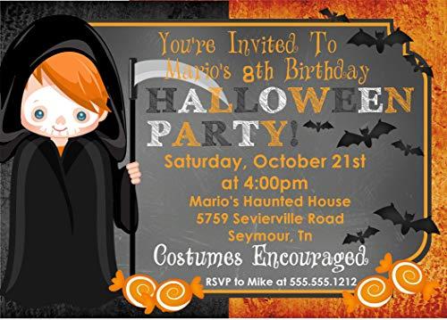 Boys Halloween Birthday Party Invitations, Halloween Birthday Costume Party Invitation With Envelopes ()