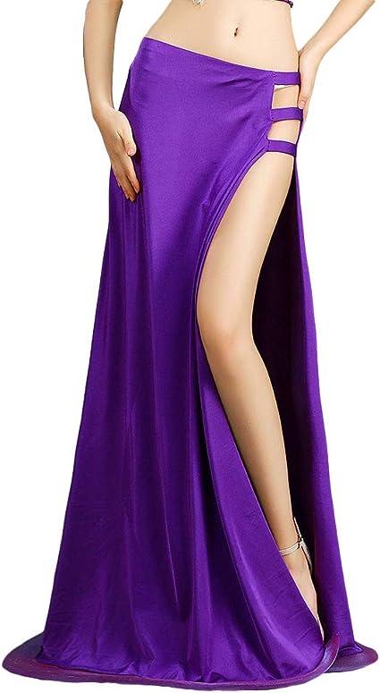 Royal Smeela Costume De Danse Du Ventre Jupes De Danse Noble Purple Jupe Longue Fendue Sur Le Cote Jupe Longue De Danse Robe Vetements De Danse Du Ventre Femme Amazon Fr Sports Et