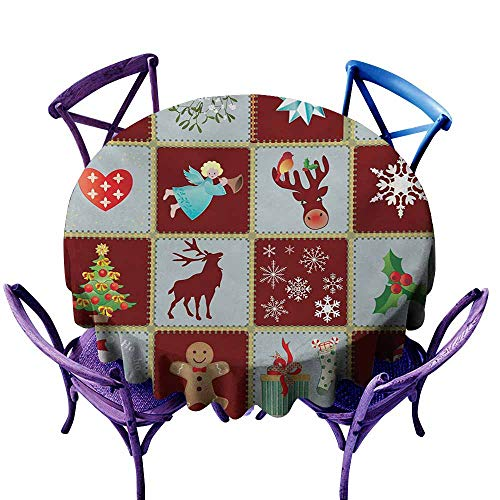 AGONIU Stain Resistant Round Tablecloth,Angel Christmas Tree Reindeers Noel Santa Presents Snowman Pine Tree Traditional,for Banquet Decoration Dining Table Cover,43 INCH Burgundy Blue Grey