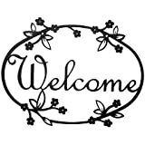 "12"" Iron Outdoor Welcome Sign - Floral Design"