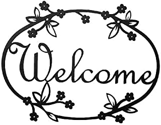 """product image for 12"""" American Made Iron Outdoor Welcome Sign - Floral Design"""