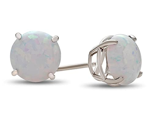Finejewelers Solid 10k White Gold Round 7mm Stone Stud Earrings
