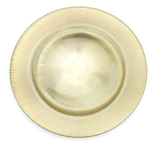 Glass Charger 13 Inch Dinner Plate With Etched Design and Metallic Tones - Set of 4 - (Dinnerware Charger Plate)