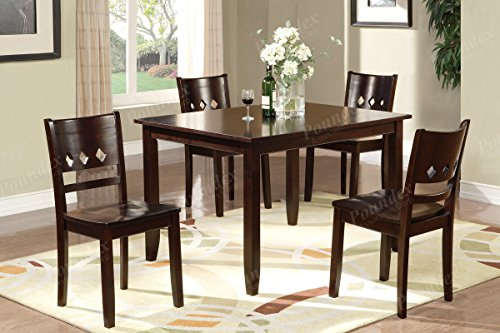 5pcs collection wood dark oak finish table set with a triple diamond shaped cutout in the back chairs for dining room