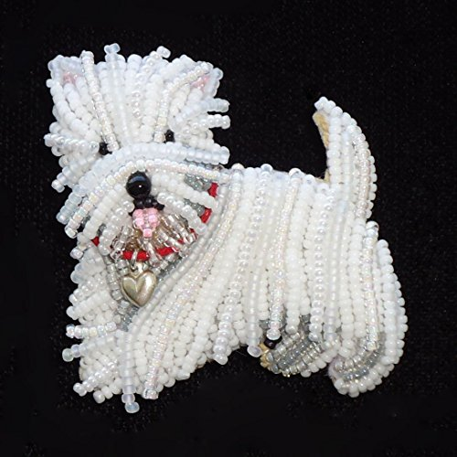 (WESTIE Beaded West Highland White Terrier Dog bead embroidery pendant Made to Order)