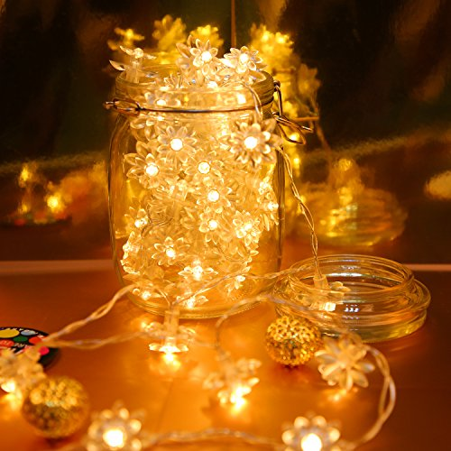 Cobbe Lotus Flower LED String Lights battery Operated 16 Feet 50 LED Fairy String Lights for Indoor & Outdoor Garden, Wedding Decoration (Warm White)[Remote & Timer] - Twinkle Flowers