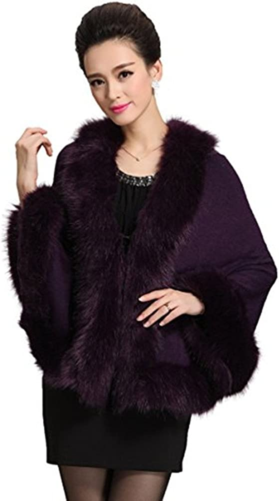 Roniky Women Luxury Bridal Faux Fur Shawl Wraps Cloak Coat Sweater Cape