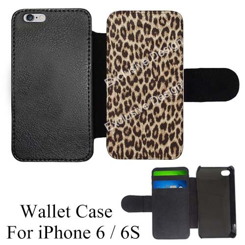 cheetah print custom credit card holder flip wallet black casecoverskin for iphone - Phone Card Holder Custom