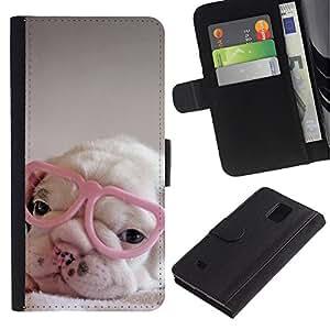 Be Good Phone Accessory // Caso del tirón Billetera de Cuero Titular de la tarjeta Carcasa Funda de Protección para Samsung Galaxy Note 4 SM-N910 // puppy pink cute sweet heart glasses
