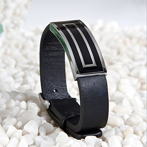 e1c6cd653460 hardart cuadrado cierre de acero inoxidable pulsera de cuero geniune para  hombres  Negro De bajo